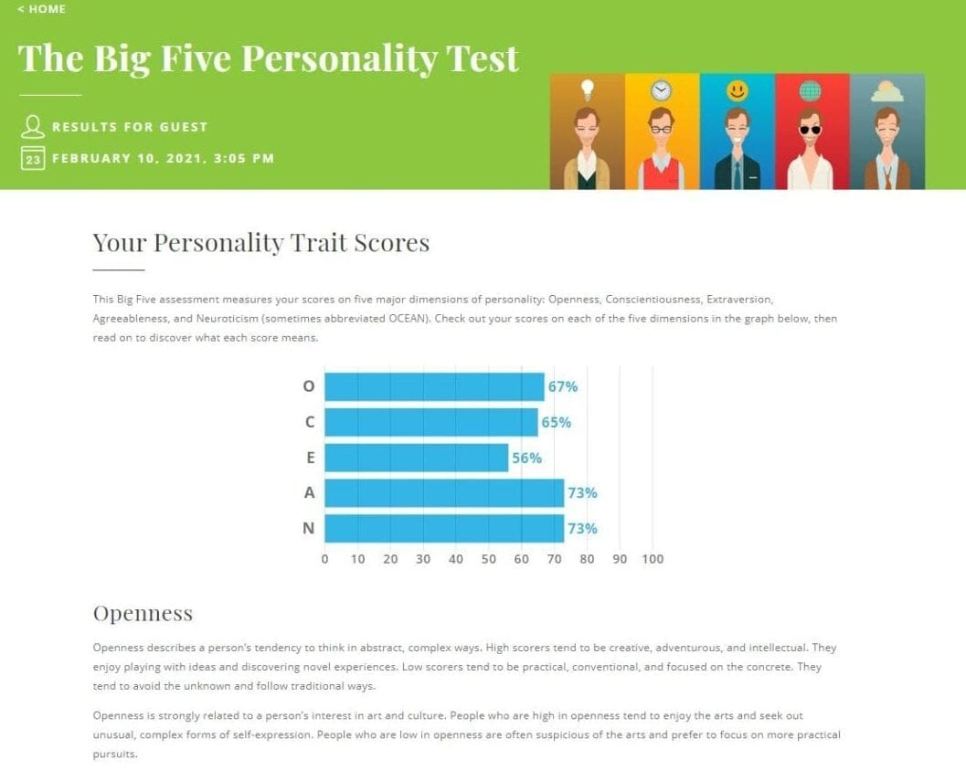 Big Five Personality Test - Truity