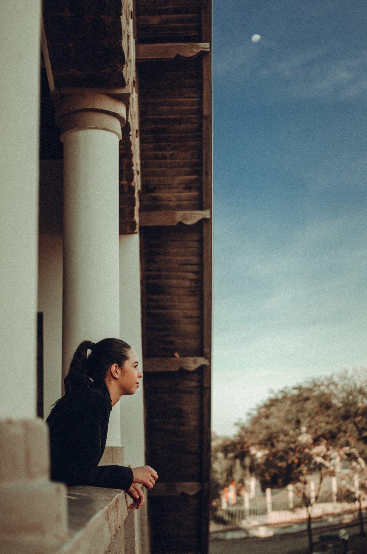 girl looking outside