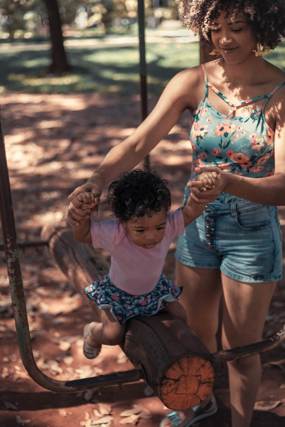 woman playing with child
